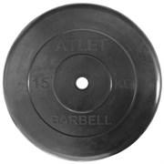Диск обрезиненный черный Atlet Barbell d-26 15 кг