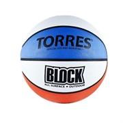 Мяч баскетбольный Torres Block р.7 резина, бело-сине-красный