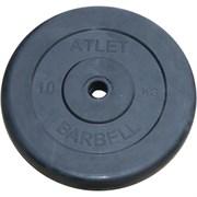 Диск обрезиненный черный Atlet Barbell d-31 10 кг