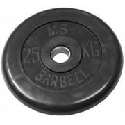 Диск обрезиненный черный Mb Barbell d-51 25 кг