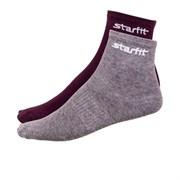 Носки средние Starfit SW-206 р.43-46 2 пары бордовый/серый меланж