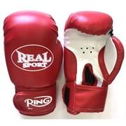 Перчатки для кикбоксинга Realsport RS110 10 унций, красный