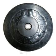 Диск обрезиненный черный Спортком d-26 20 кг (Стальная втулка)