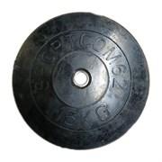 Диск обрезиненный черный Спортком d-26 15 кг (Стальная втулка)