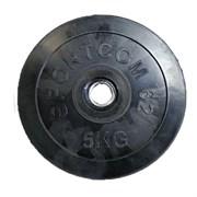 Диск обрезиненный черный Спортком d-26 5 кг (Стальная втулка)
